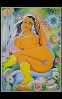 "Erotik, grosses Aquarell 50 x 70 cm, ""L'Odeur du Printemps"", LOVELY LISA Art."