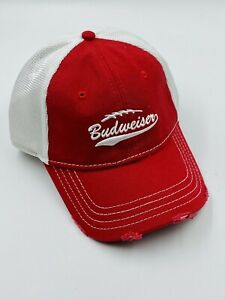Red Budweiser Beer Mesh Hat Factory Distressed Strapback Cap