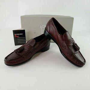 VTG 1989 Florsheim Riva Darby Kilty Tassel Wine Leather Loafer Shoes Men's 8.5 D