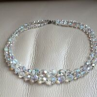 2 Strand Necklace Vintage Retro 925 Silver Aurora Borealis Glass Crystal Bridal