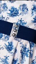 HELL BUNNY Navy Blue Retro 50s Rockabilly Nurses Cinch Elasticated Waist Belt