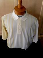 New NWT Mens Pringle M and L White w Yellow Stripes Polo Style Golf Shirt