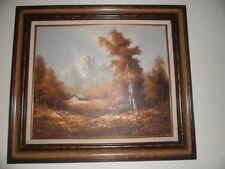 Vintage Landscape Oil on Canvas Autumn Mountain Scene