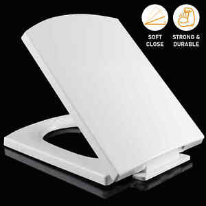 Square Toilet Seat Heavy Duty White Slow Soft Close Seats With Fitting Hinges