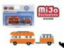 M2 VW BUS AND TRAILER SET.  DIECAST 1.64  LIMITED HOBBY SET ORANGE AND WHITE