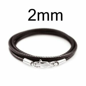 3pcs Women Lobster Clasp Connector Leather Waxed Cord Necklace Rope DIY Jewelry
