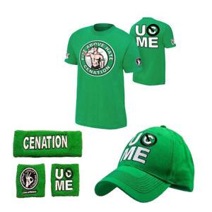 5PCS T Shirt Wristbands Sweatband cap hat boys mens for John Cena WWE gift shirt
