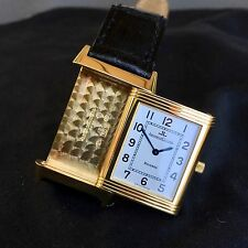 Jaeger LeCoultre Reverso 18K Yellow Gold Manual Wind Silver Leather Wristwatch