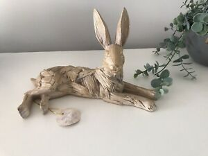 Driftwood Laying HARE Resin Ornament Wooden Carved Effect Statue Figure 25cm