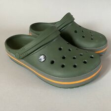 Crocs Khaki Green Grey/Orange Stripe Crocband Slip On Shoes/Clogs M6 W8