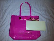 NWT TED BAKER LONDON PLAIN BOW LARGE ICON HOT PINK TOTE BAG FREE YELLOW WALLET