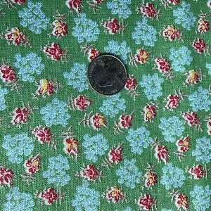 "Vintage Full Feedsack Still A Sack Floral Green Blue Rose Yellow 51x36"""