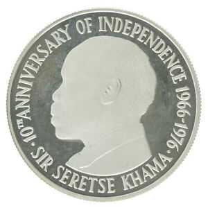 Botswana - Silver 5 Pula Coin - 10th Anniversary of Independence - 1976 - Proof