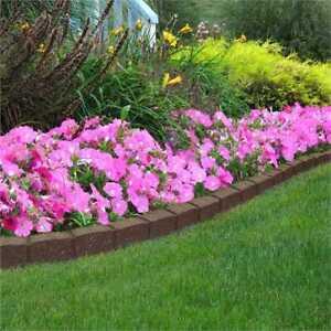 Garden Lawn Roman Stone Border Lawn Edging Flexi Recycled Rubber - Brown Or Grey
