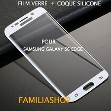 Tempered Glass Film Integral Curved White Samsung Galaxy S6 Edge+ Silicone Cover