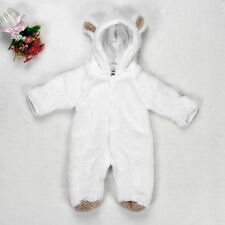 US Newborn Baby Boys Girls Fleece Rabbit Bear Warm Romper Clothes Snowsuit 80