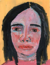 Outsider Portrait Painting She Gets So Nervous by Katie Jeanne Wood