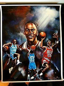 Michael Jordan Litho North Carolina, Bulls Vintage Rare Art Piece 1 of a Kind