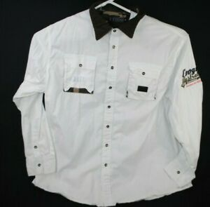Coogi Australia Button Down Shirt L/S White Mens Size 5XL Camo Lining
