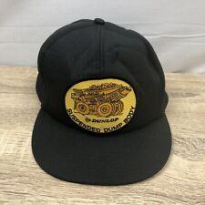 Vintage Dunlop 'Suspended Dump Body' Patch Black Snapback Cap Hat