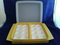 VintageTUPPERWARE Deviled Egg Taker Keeper Trays Harvest Gold #722 #723