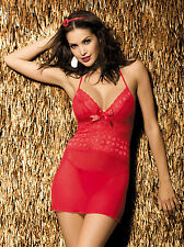 Obsessive Cuorina Chemise Babydoll Nightie Red Sexy Ladies Lingerie Nightwear