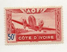 French Ivory Coast 1940s Air Mail Early Issue Fine Mint Hinged 50c. 229519