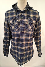 Globe Men's Hooded Flannel Shirt Alford Navy/Green Plaid Size L NWT Light Jacket