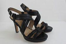Antonio Melani Women Size 8 M Black Calf Leather Woven Sandals Shoe NIB