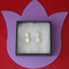 18K White Gold Plated Cubic Zirconia White Topaz  Earrings 5.5 Gr. 2.2 Cm. Long
