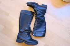 Timberland Sz 6 Black Leather 14 in lace up Premium Goth Knee High boots 28398
