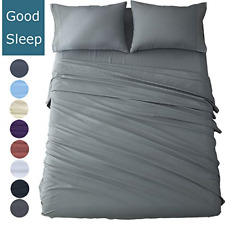 Shilucheng King Size Bed Sheets Set Microfiber 1800 Thread Count Percale Super -