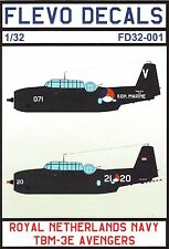FD32-001/ FLEVO DECALS - TBM-3E Avenger - Royal Netherlands Navy - 1/32