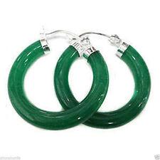 Details about   Green, the Jade Hoop & Huggie Earring hooks of silver,