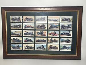 Railway Engines Cigarette Cards by WD & HO Wills Set of 25 Train Locos Framed