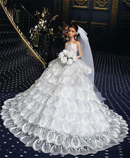 White Fashion Royalty Dress/Wedding Clothes/Gown+Veil for Barbie Doll ES216