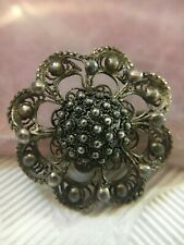 VTG 925 Sterling Silver Daisy Flower Floral Dotted Filigree Brooch Pin Signed