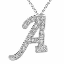 in 10K White Gold Finish With Chain 0.20 Ct Diamond Intial A Necklace Pendant