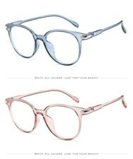 Vintage Clear Eyeglasses Transparent Frame Nerd Round Glasses with Leather Case