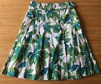 KAREN MILLEN England Green White Palm Leaf A-Line Pleated Belted Cotton Skirt 8