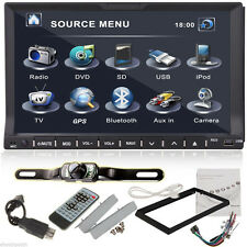 "7"" Touch Screen BT Double 2Din In dash Car Stereo Radio GPS CD DVD Player+Camera"