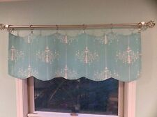 Aqua/Turquoise Valance Drapes White Chandelier Motif, Frozen, Elsa, Ice Palace