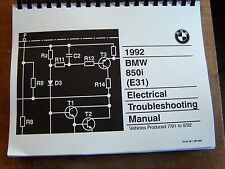 1992 BMW 850 I Owners Electrical troubleshooting Service Manual E31 8 series