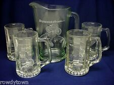 NEW Vintage PITCHER Beer MUGS Bicycle Sled Water GLASS Iced Tea BRUNSWICK Set