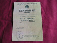 WW11 German Certificate for Knights Cross to the Iron Cross