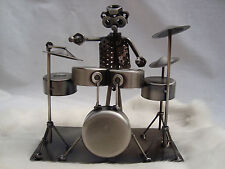 "DRUM SET Metal Sculpture 7.5"" x 7""  Wire/Hardware Great MUSIC Gift NIB Great!"