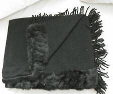 Stola mit Kunstperlz und Fransen schwarz 1,70 x 65
