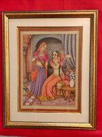 Hand Painted Ragini Rajasthani Princess Maharani Miniature Painting India Framed