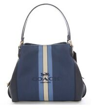 New $325 COACH Horse & Carriage Jacquard Edie 31 Shoulder Bag Blue Navy Gold