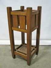Antique Arts & Crafts / Mission Oak Umbrella Stand; Original Copper Tray; C 1910